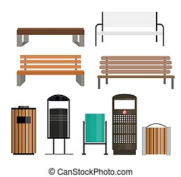 Trashcan Set Vector Illustration - Trashcan Set Isolated on...