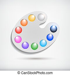 Art palette with colors,isolated on white background.