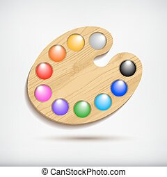 Wood art palette with colors,isolated on white background.