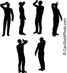 businessman drink - EPS 10 Vector illustration in silhouette...