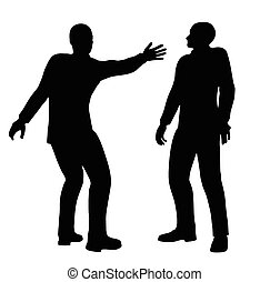 businessman slap - EPS 10 Vector illustration in silhouette...
