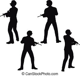 businessman soldier stand - EPS 10 Vector illustration in...