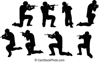 businessman soldier shoot - EPS 10 Vector illustration in...