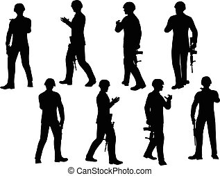 soldier walking - EPS 10 Vector illustration in silhouette...