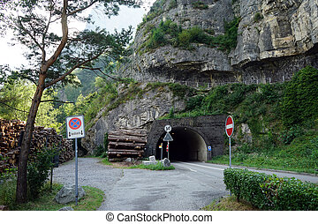 Tunel and road near Lucerne lake in Isleten Schiff