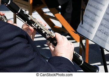 clarinet player - a member of an orchestra playing the...