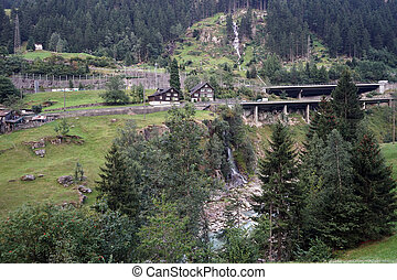Highway bridge - Highway and river in mountain area of...