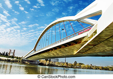 Seville bridge - A view of Puente de la Barqueta in Sevilla,...