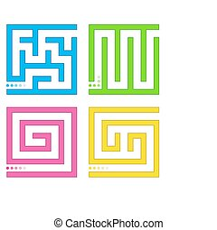 Set of small colored mazes.