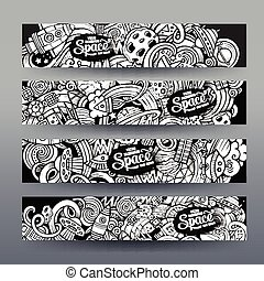 Graphics vector hand-drawn sketchy trace Space Doodle. banners