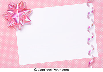 Blank party invite or gift tag with space for copy