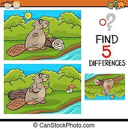 differences task for kids - Cartoon Illustration of Finding...