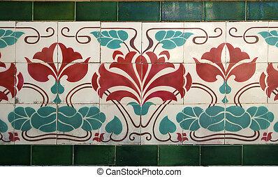 old tile art nouveau - old tile with floral decoration arrt...