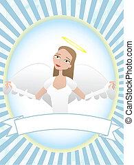 Female Angel inside oval banner advertisement setting
