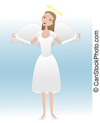 Female cartoon angel taking flight