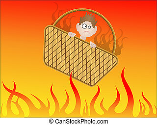 Going to hell in a handbasket - Visual metaphor - person...