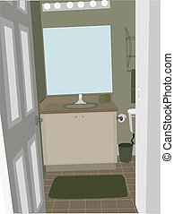 Bathroom at an angle with stylized accent objects
