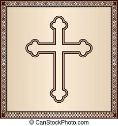 Cross with border - Cross on elegant golden background with...