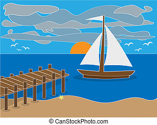 Sunrise near dock on beach - Illustration of sailing boat...