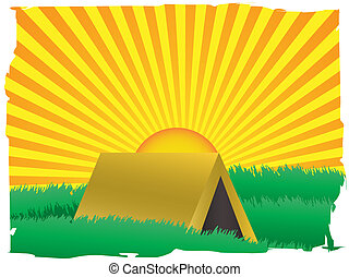 Glowing sun rise over camping tent inside grassy - Sun...