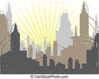 Glowing Fading Stylish Futuristic City