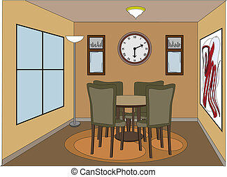 Casual dinning room with accent pieces - Inside angled room...