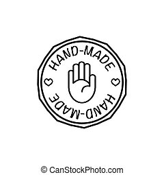Vector hand-made badge rendy modern style black and white