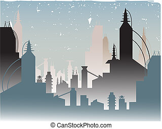 Glowing Fading Stylish Futuristic City - Stylized Urban...