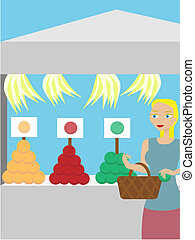 Woman buying fruit at a booth - Farmer\'s Market fresh fruit...