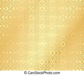 Golden poker background with dark damask pattern and cards...