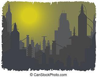 Futuristic city beyond foggy sky