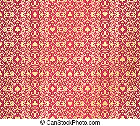 Red seamless poker background with golden, damask pattern...