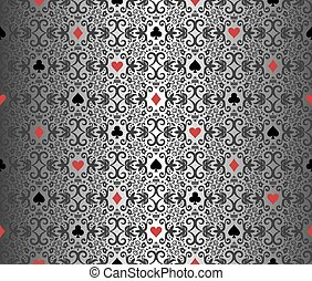 Silver poker background with damask pattern and cards...