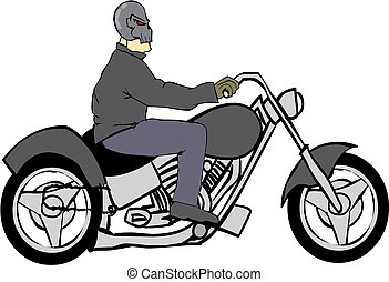 Bike Rider with Skull Helmet - Demon of a biker on his cycle...