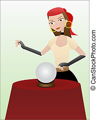 Fortune teller gypsy standing over crystal ball - Cartoon...