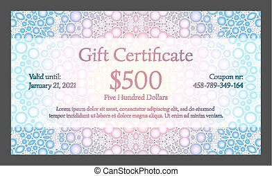 Gift certificate with bubble texture in background - Light...