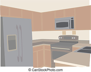Modern Kitchen in neutral tones stylized angled