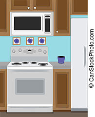 Home Kitchen oven and microwave - Close up view of home...