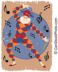 Musical masked man with flute dancing around notes in poster...