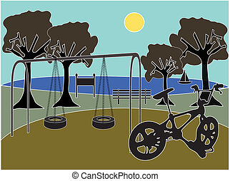 Park with playground - Scenic silhouette park playground...