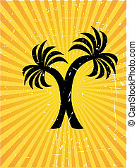 Twin plam tree vector background - Tropical orange sunny ray...