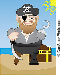 Fat Chubby short Pirate with sword and hook hand - Isolated...