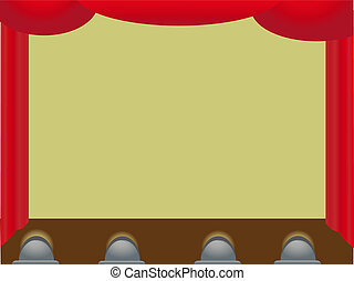 Empty Stage accented by Curtains - Unoccupied staging area...