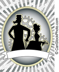 Steampunk product label male woman gears abstract