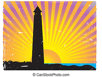 Silhouetted Lighthouse Sunset vector background - Coastal...