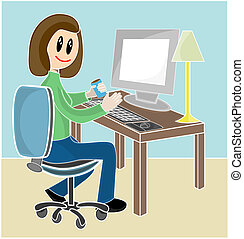 Woman sitting at desk in front of computer