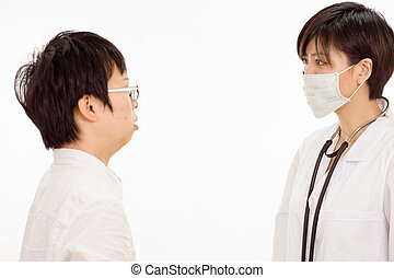 Asian female doctor with patient