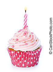 Birthday cupcake - Pink birthday cupcake isolated on white