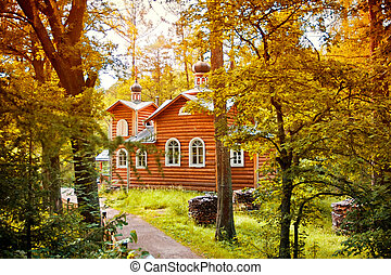 Valaam - Monastery in the forest in Valaam island, Russia