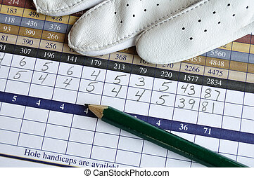Golf Score Card with Glove and Green Pencil - Close up of...
